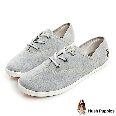 Hush Puppies 羊毛氈咖啡紗帆布鞋-灰色