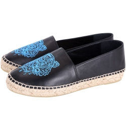 KENZO Leather Tiger 虎頭刺繡皮革草編平底鞋(黑色)