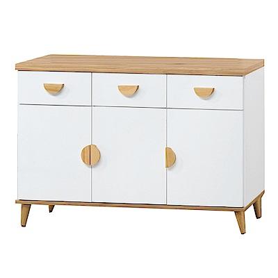 品家居 芬達4尺木紋雙色餐櫃下座-121x40x80.5cm免組