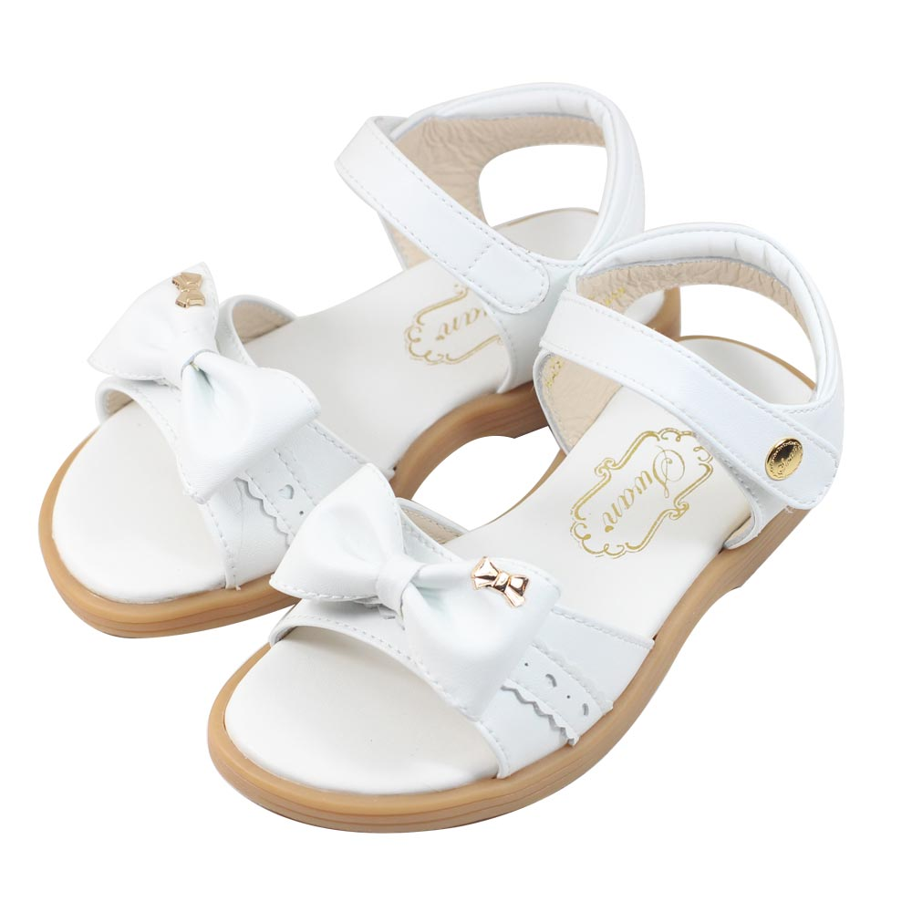 Swan天鵝童鞋-優雅簡約蝶蝶結涼鞋 3846-白