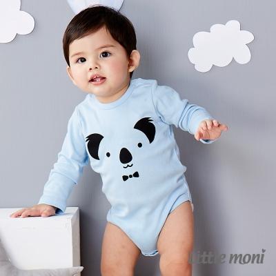 Little moni 純棉家居系列動物印圖包屁衣 亮天藍