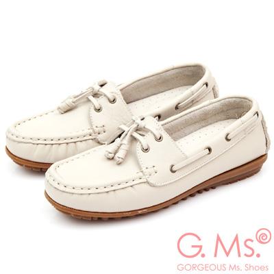 G.Ms. MIT情侶鞋系列-水洗牛皮帆船鞋-甜米白