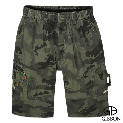 GIBBON 個性軍裝迷彩鬆緊短褲‧軍綠M~3L