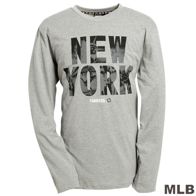 MLB-紐約洋基隊字母logo棉質T恤-灰(男)