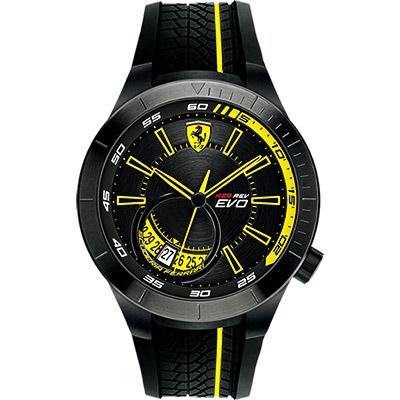 Scuderia Ferrari 法拉利 RedRev Evo 時尚腕錶-黑x黃/46mm
