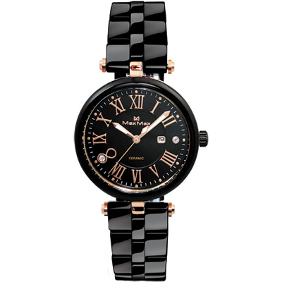 Max Max 羅馬尋夢圓 陶瓷腕錶~黑x玫瑰金 34mm