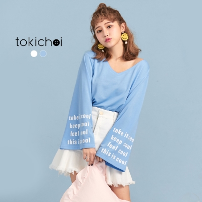 東京著衣 寬袖印花長T-S.M(共二色)
