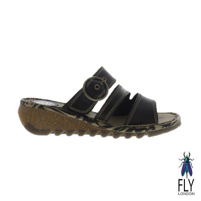 Fly London(女) 三線圓扣低坡跟真皮休閒拖鞋 - 黝勁黑