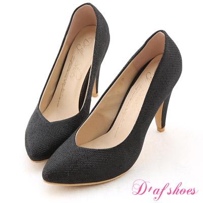 D+AF 星星風潮‧金蔥閃料小V口尖頭高跟鞋*時尚閃黑