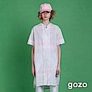 gozo 小立領線條格紋襯衫洋裝(白色)