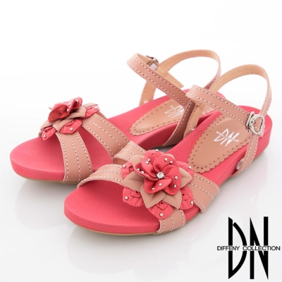 DN 甜美輕裸 立體花朵綴飾踝帶涼鞋 粉橘