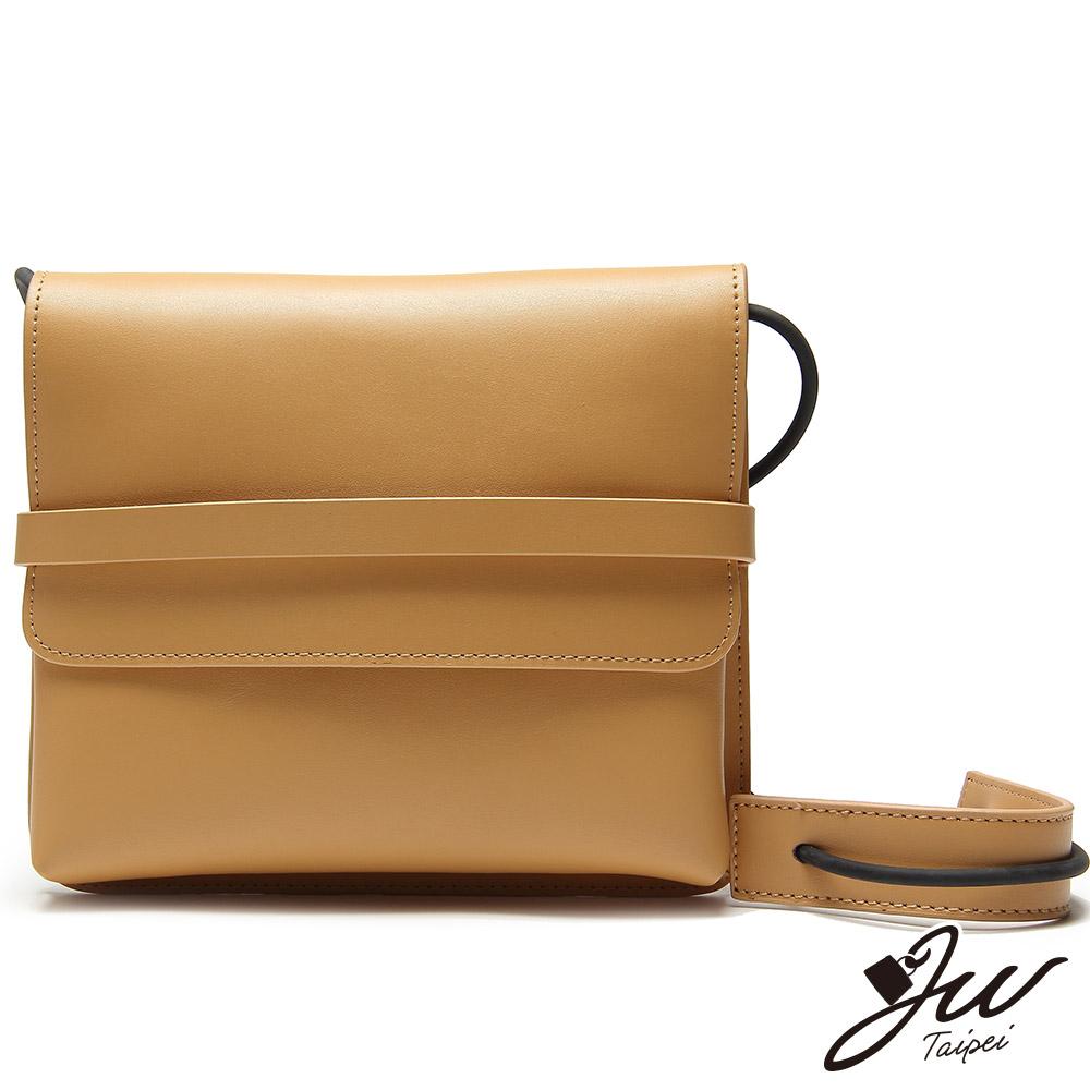JW真皮首爾設計俐落感信封肩背包(共兩色-輕甜杏)