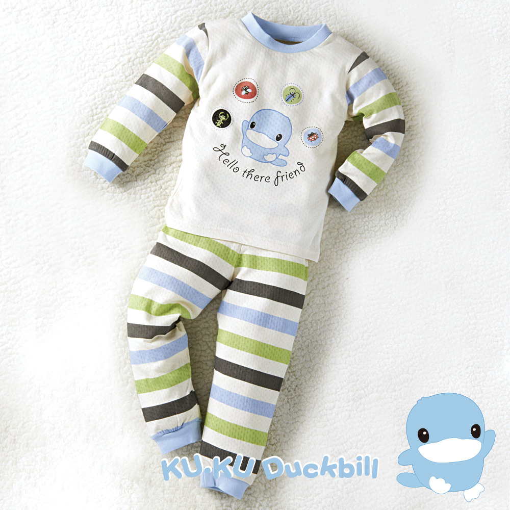 KU.KU酷咕鴨-秋冬有機棉條紋套裝-藍
