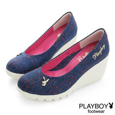 PLAYBOY 英倫貴族 GOPLAY格紋高台楔型鞋-藍(女)
