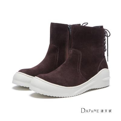 達芙妮x高圓圓-圓漾系列-短靴-後綁帶麂皮平底短靴-咖啡8H
