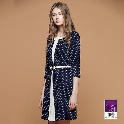 ILEY伊蕾 幾何圖紋剪接配色假兩件洋裝(藍)