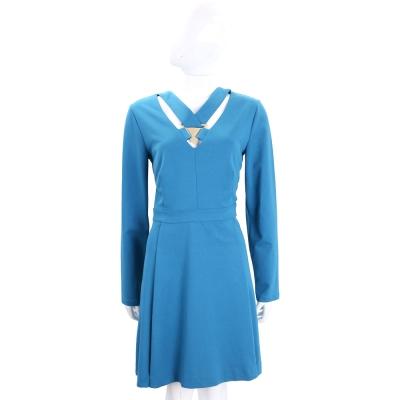 VERSACE 藍色前簍空三角金屬設計長袖洋裝