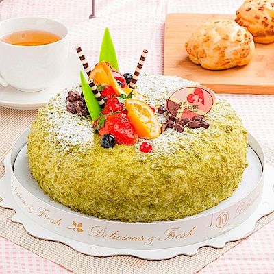 樂活e棧 生日快樂造型蛋糕-夏戀京都抹茶蛋糕(6吋/顆,共1顆)