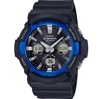 G-SHOCK強悍風範設計潮流時尚休閒錶(GAS-100B-1A2)-藍框52.5mm