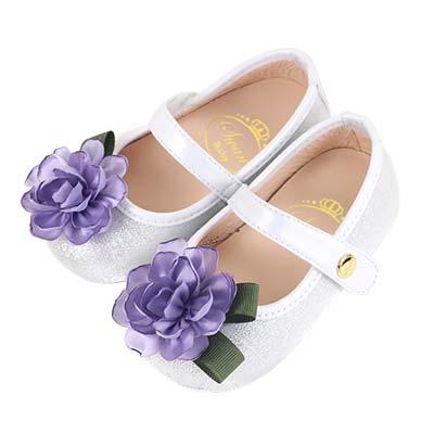 Swan天鵝童鞋-優雅法式花朵學步鞋1561-銀