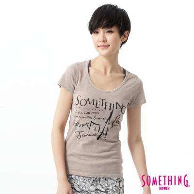 SOMETHING-T恤-巴黎速寫悠閒T恤-女-灰褐