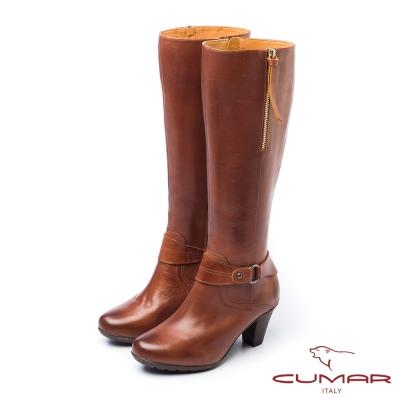 CUMAR小可愛俏皮皮環吊飾粗跟長靴-棕