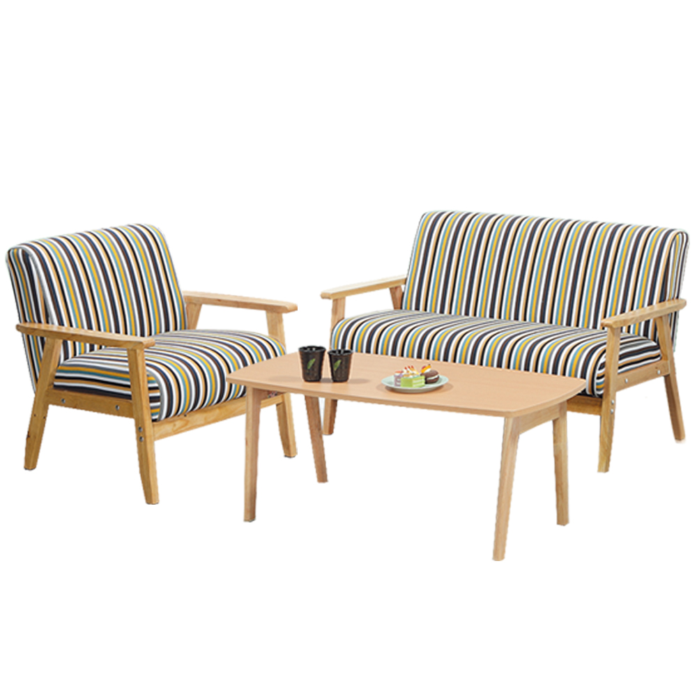 Bernice-布里實木沙發椅+茶几組合(1人+2人+茶几)-100x50x45cm