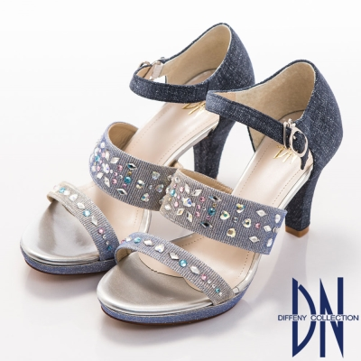 DN 時尚首選 異材質拼接金蔥高跟涼鞋-藍