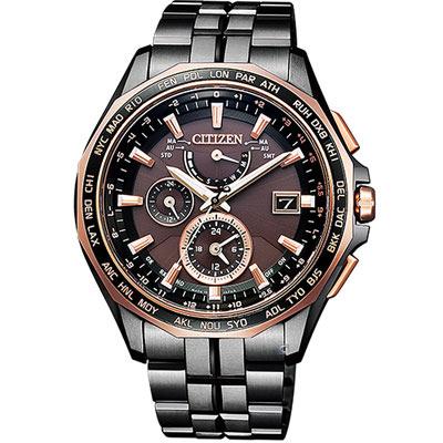 CITIZEN 勁量流線電波計時錶(AT9096-73E)-咖啡色x黑色/42.7mm