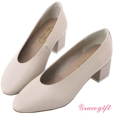 Grace gift-簡約撞色特殊方型跟鞋 裸