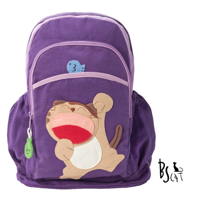ABS貝斯貓 可愛貓咪手工拼布後背包 (紫) 88-207