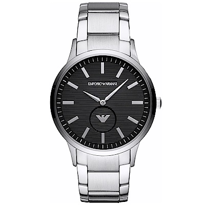 Emporio Armani 質感品味時尚手錶(AR11118)- 黑X銀/43mm