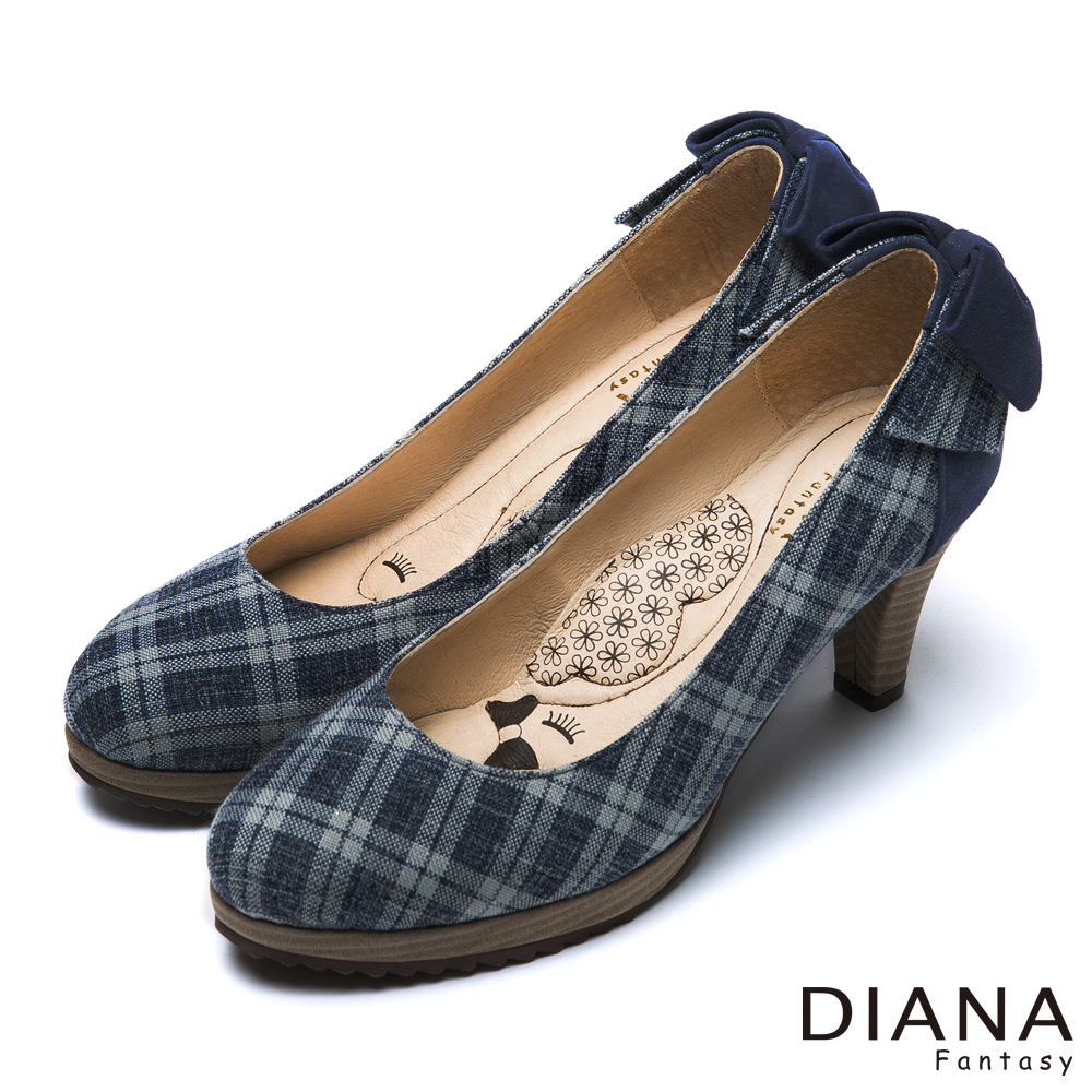 DIANA 超厚切LADY款--花呢格紋布後跟蝴蝶結跟鞋-藍