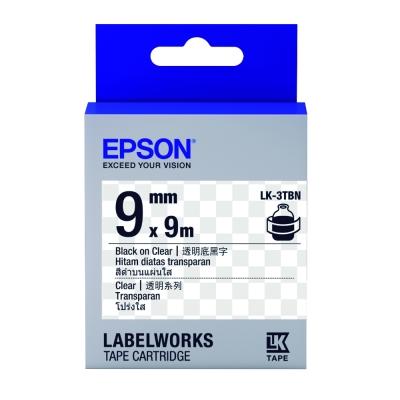 EPSON C53S653408 LK-3TBN透明系列透明底黑字標籤帶(寬度9mm)