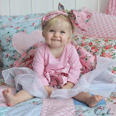 Oobi 粉紅條紋碎花紗裙洋裝