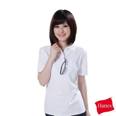 美國HANES-百搭柔棉-POLO衫-經典白