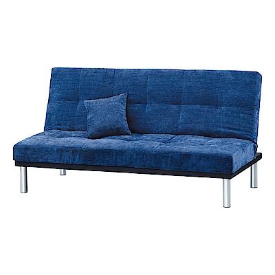 Boden-藍色絨布沙發床/三人椅/三人座(送抱枕)