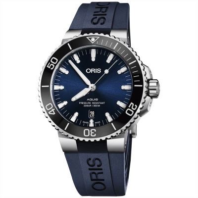 Oris豪利時 Aquis 時間之海潛水300米日期機械錶-藍x藍色膠帶/43.5mm