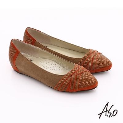 A.S.O 玩美彈麗II 全真皮金屬飾片內增高平底鞋 茶