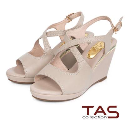 TAS-交叉鏤空繫帶楔型涼鞋-深米