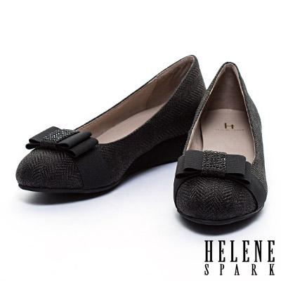 楔型鞋-HELENE-SPARK-晶鑽蝴蝶接斜紋布面楔型鞋-黑