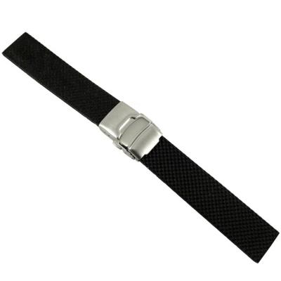 鑽石紋-運動矽膠彈壓式摺疊扣錶帶-18/20/22/24 mm