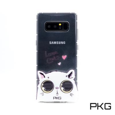 PKG SAMSUNG Note8 彩繪空壓氣囊保護殼-浮雕彩繪-娃娃貓