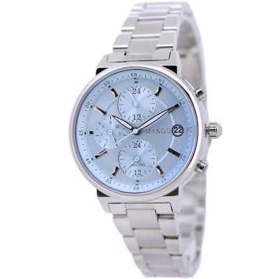 MANGO 質感簡約三眼時尚手錶-藍X銀/37mm?