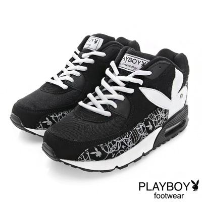 PLAYBOY 玩色潮流~線條拼接慢跑運動鞋-黑(女)