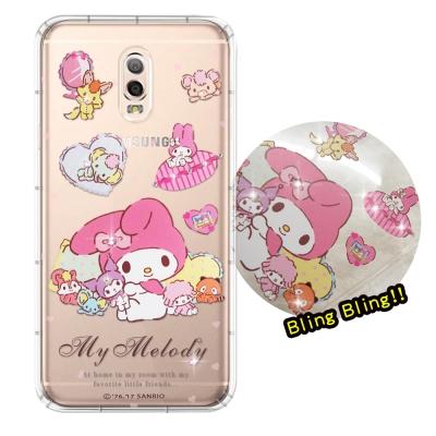 正版授權 Samsung Galaxy J7+ 夢幻童話 彩鑽氣墊殼(美樂蒂&a...