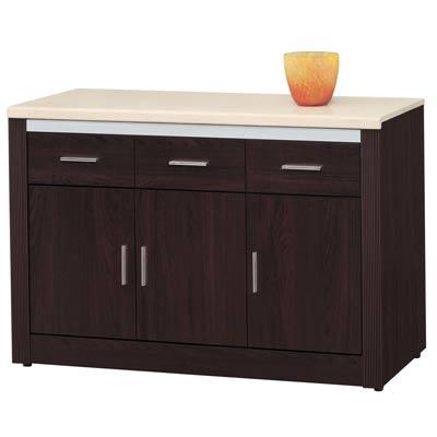 時尚屋長榮胡桃4尺石面碗碟櫃