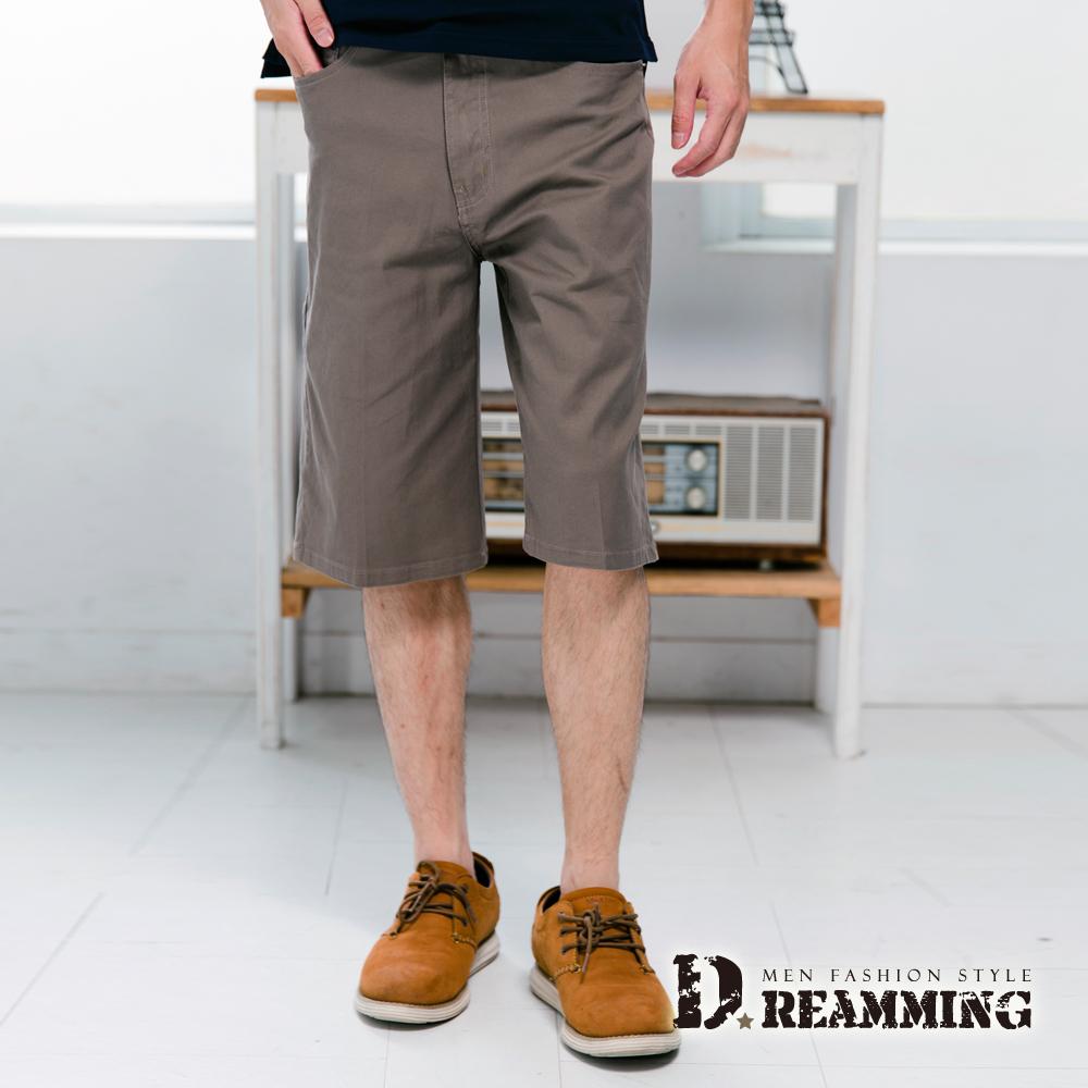 Dreamming 超輕薄百搭伸縮七分休閒短褲-卡其