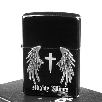 【ZIPPO】日系~Mighty Wings-天使翅膀立體貼飾打火機(黑)