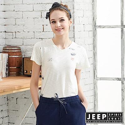 JEEP女裝 轉印圖騰V領短袖T恤-白色